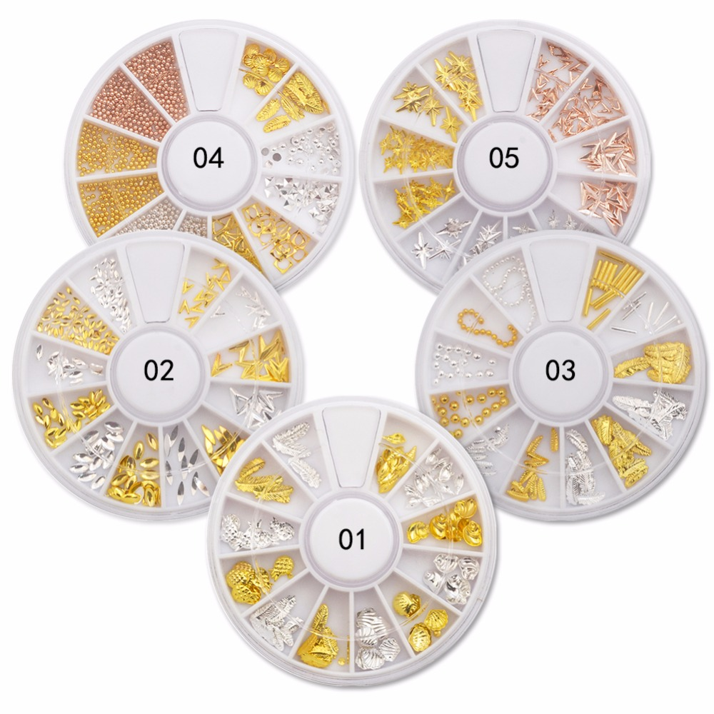 23 Styles Rose Gold Rivet Nail Studs 3D Nail Art Decoration Grey Gold Circle Star Round Square Triangle Mix Accessories Wheels circle