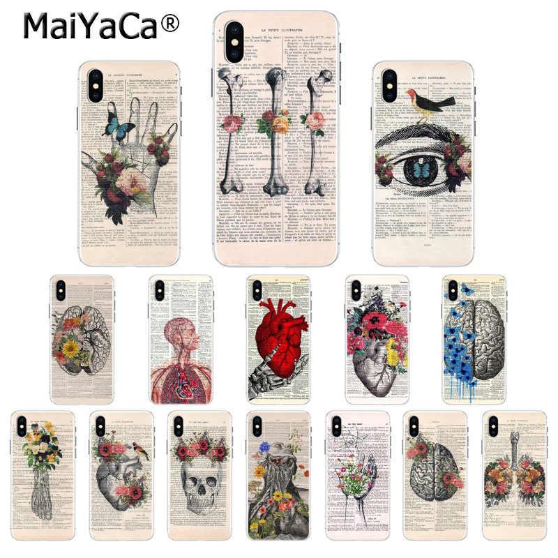 MaiYaCa 人体解剖学オルガン新聞高品質 TPU ソフトフォンケースの 5 5Sx 6 7 7 プラス 8 8 プラス X XS 最大 XR カバー