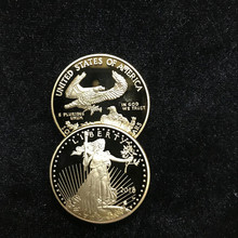 1 Pcs Non magnetic The Freedom 2018 Liberty souvenir badge OZ 24K real gold plated USA eagle 32.6 mm replica coin