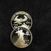 1 stücke Nicht magnetische Die Freiheit 2018 Liberty souvenir abzeichen 1 unze 24 karat reales gold überzogene abzeichen USA adler 32,6mm replica münze