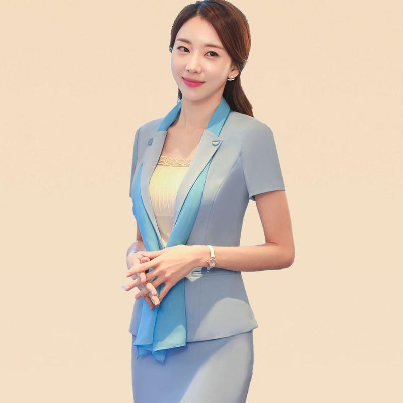 Blazer Jacket Blue Summer Workwear Slim Elegant Office Lady Short-Sleeved Fashion Women's