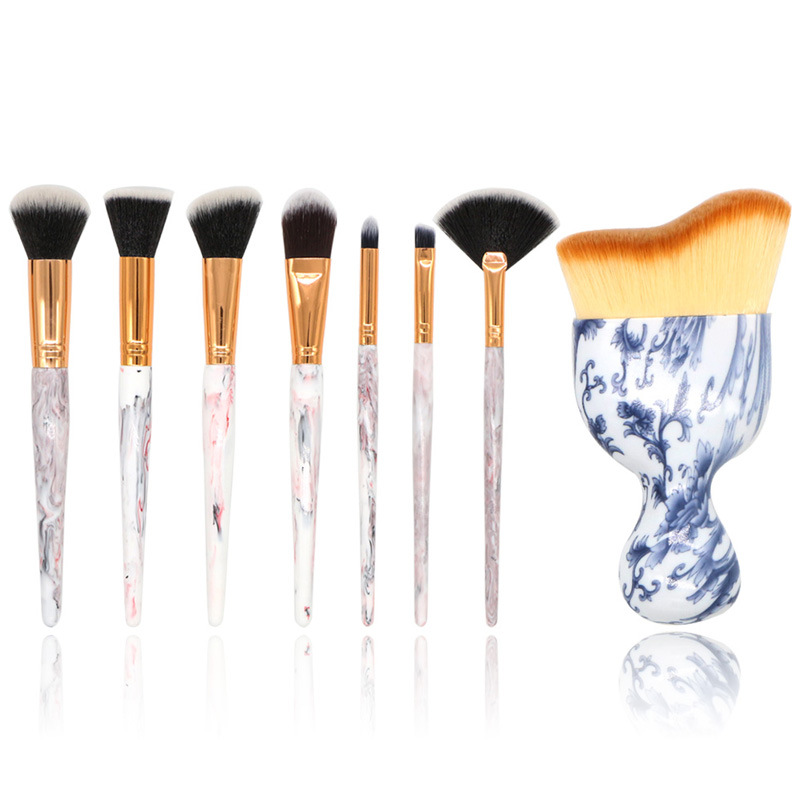 New 8pcs Vintage Marble Brush Professional Makeup Brushes Set Foundation Eyeliner Powder Face Contour Brush Cosmetic Beauty Tool new design stamp seal shape face makeup brush foundation powder blush contour brush cosmetic facial brush cosmetic makeup tool