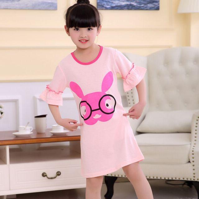 428ac7f27d6d7 US $3.2 20% OFF|Girls Nightdress New 2018 Summer Princess Cartoon Dresses  Kids Sleep Dress Cotton Children Nightgowns Lovely Girl Gift furtyru7-in ...