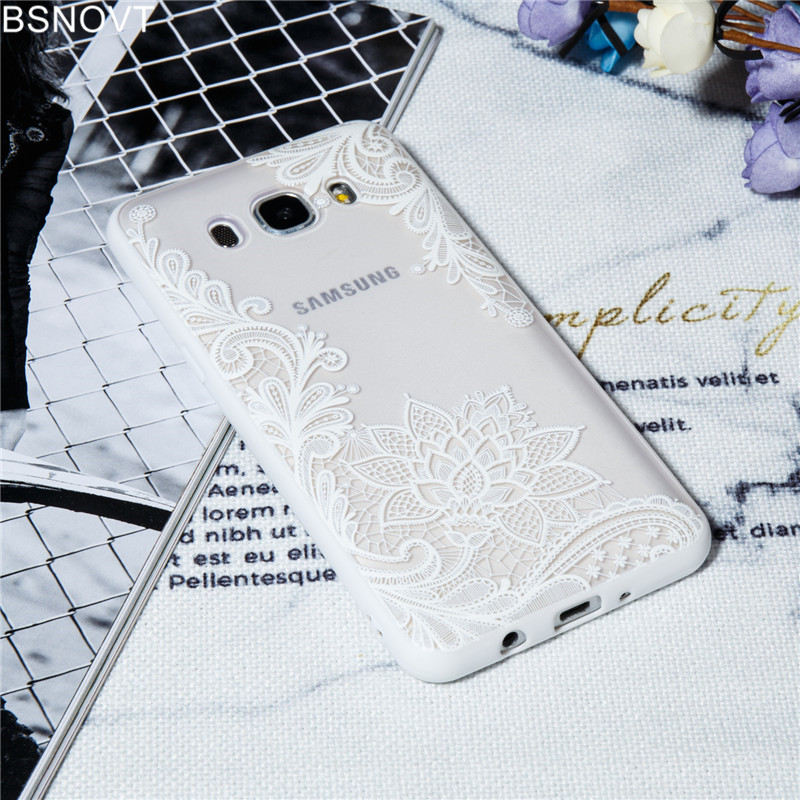 For Samsung Galaxy J5 2016 Case Cover Lace Silicone Phone Case Flower Back Cover For Samsung Galaxy J5 2016 J510 Clear Case