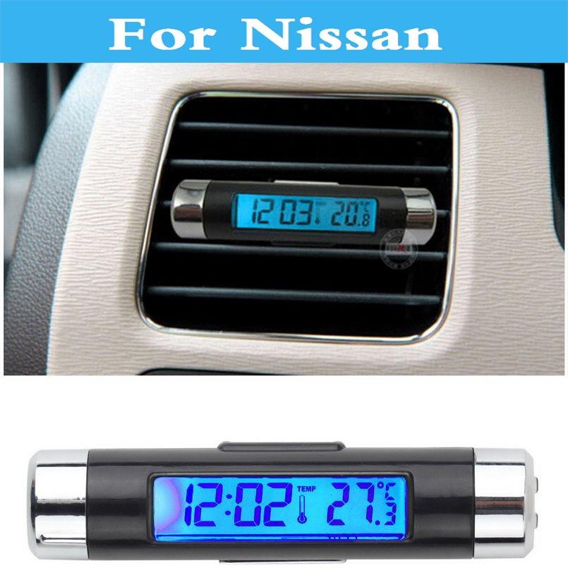 2017 car led Clock Thermometer Gauge Voltage Tester For Nissan Cedric Cima Crew Dualis ExpeGloria GT-R Juke Bluebird Sylphy hot