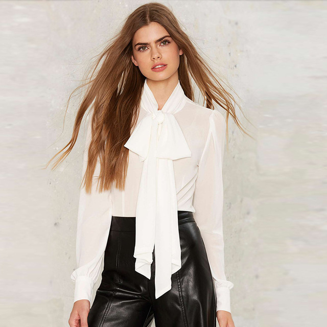 SWYIVY Women Chiffon Blouses Big Bow 2019 Spring Summer Long Sleeve Tie Woman Shirt White Female Summer Breathable Thin Blouse 4