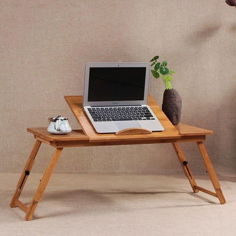 Maison créative double ventilateur muet bambou lit support pliant pour ordinateur portable multi-fonction table avec tiroir de rangement WF6011120 - 4