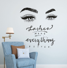 Eyelashes Eye Wall Decal Beauty Salon Decor Lashes Make Everything Better Quote Mural Vinyl Eyelash Eyebrow Stickers  F889