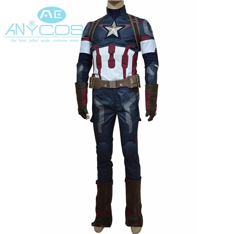 المنتقمون سن [أولترون] كابتن أمريكا 3 تأثيري حلي ستيف روجرز زي موحد الزي الكبار الرجال خارقة زي موحد