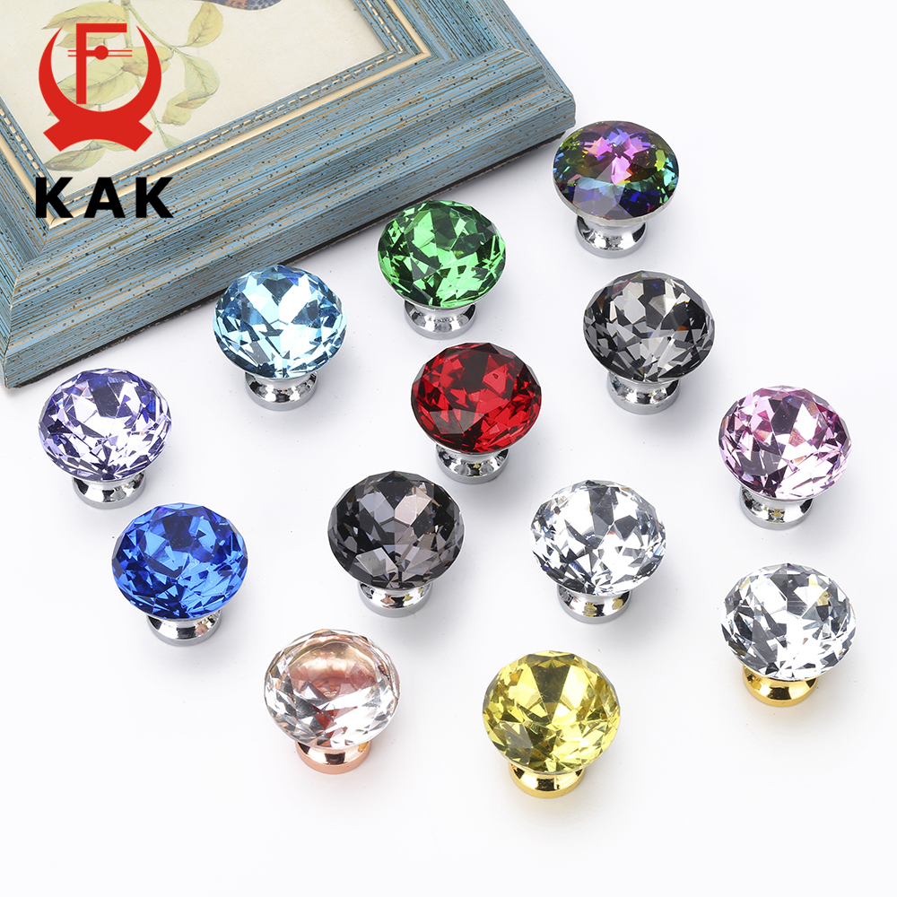 KAK 30mm Crystal Knobs Cabinet and Handles Diamond Shape Kitchen Cupboard Drawer Furniture Handle Hardware