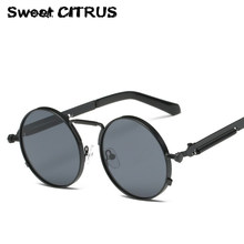 Sweet CITRUS Steampunk Round Sunglasses Men Women New 2017 brand designer Coating Mirror Redonda Sun glasses shades Gafas de sol