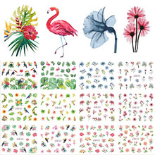 12 Designs Water Decals Slider Summer Jungle Flamingo Parrot Flora Watermark Nail Sticker Decoration Wraps Manicure BEBN865-876(China)