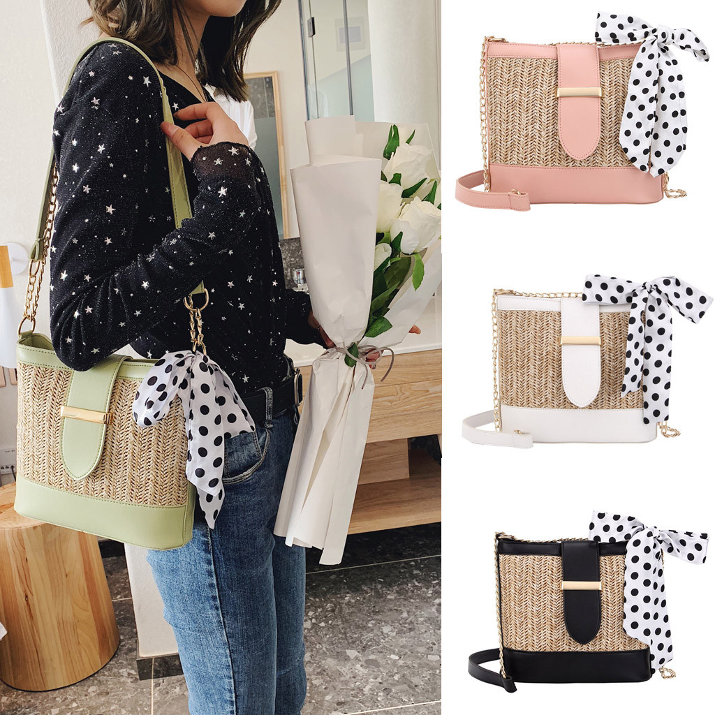 Women's Messenger Bags Vintage Retro Woven Shoulder Bags Female Girls Solid Color Scarf Woven Bag Casual Beach Handbags Totes(China)