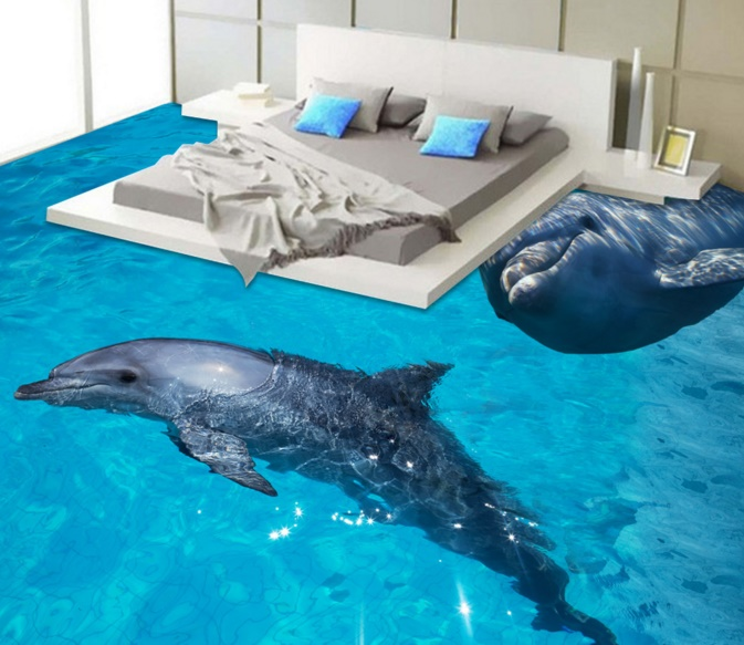 [Self-Adhesive] 3D Dolphins Aquarium 2 Non-slip Waterproof Photo Self-Adhesive Floor Mural Sticker WallPaper Murals Print Decal