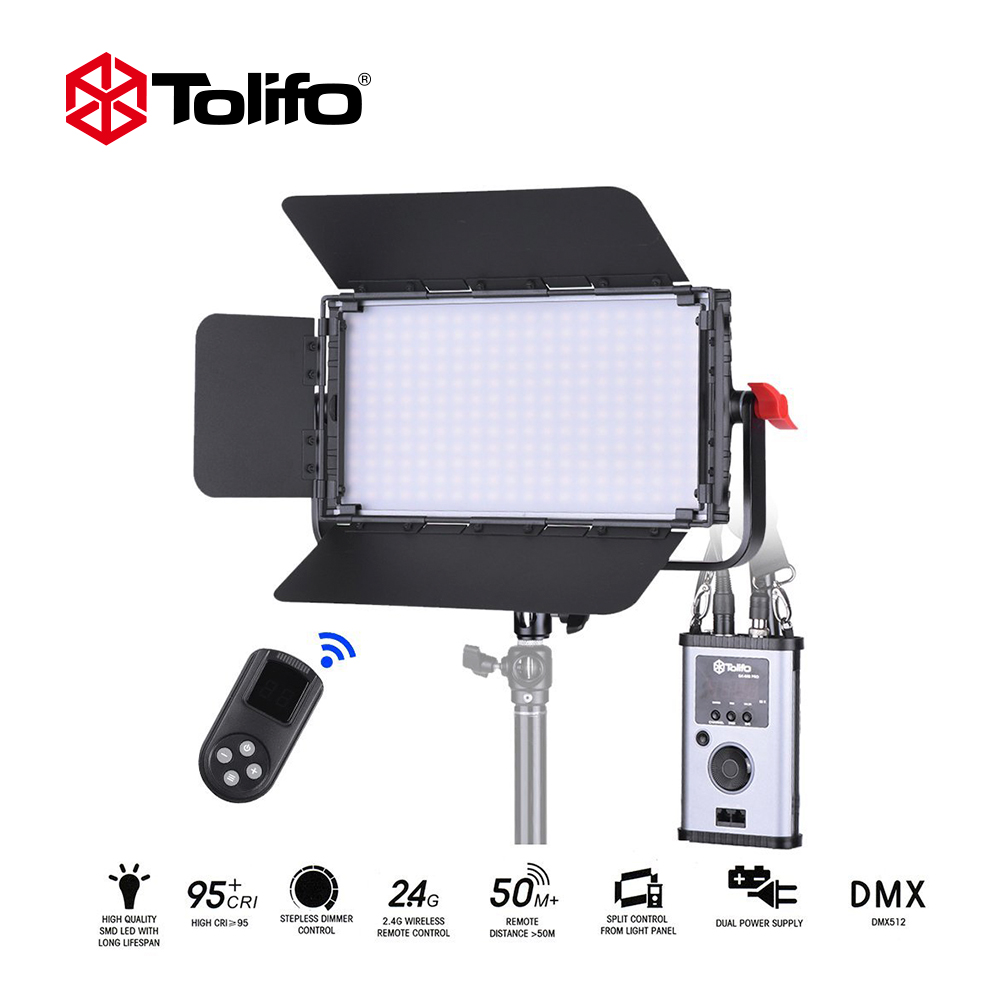 Tolifo GK-60B PRO 60W Ultra-thin 240pcs LED Video Light Bi-Color Dimmable DMX 512 +2.4G Remote Control For Studio Photography