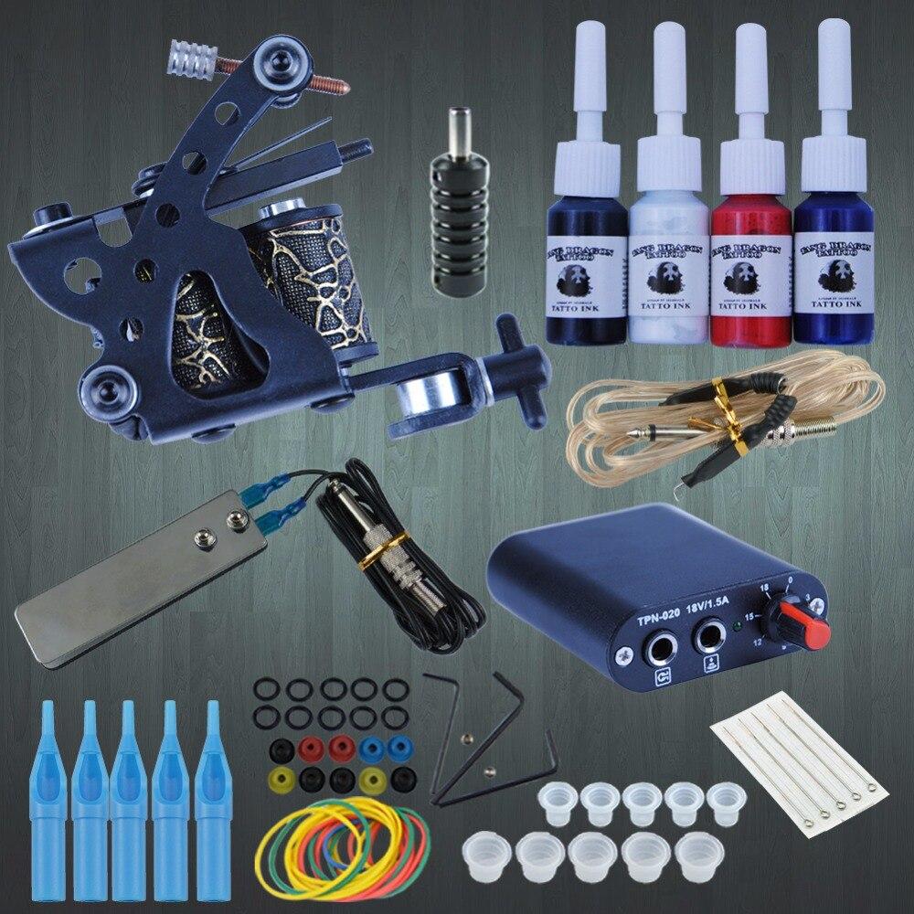 Starter tattoo kit 8 wrap coils tattoo gun machines 4pcs for Starter tattoo kits