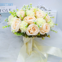BRITNRY Champagne Wedding Bouquet Handmade Artificial Flower Rose buque casamento Bridal Bouquet for Wedding Decoration 2018