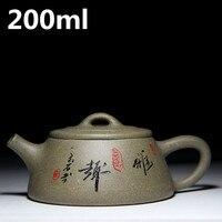 중국 찻 주전자 200 미리리터 수제 차 냄비 도자기 Zisha 포와 주전자 세라믹 이싱 보라색 점토 진흙 차 세트 주전자 마스터 메이