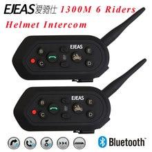 Newest 2 pcs E6 Helmet Intercom 6 Riders 1300M Motorcycle Bluetooth 3.0 Intercom Headset Walkie Talkie Helmet BT Interphone