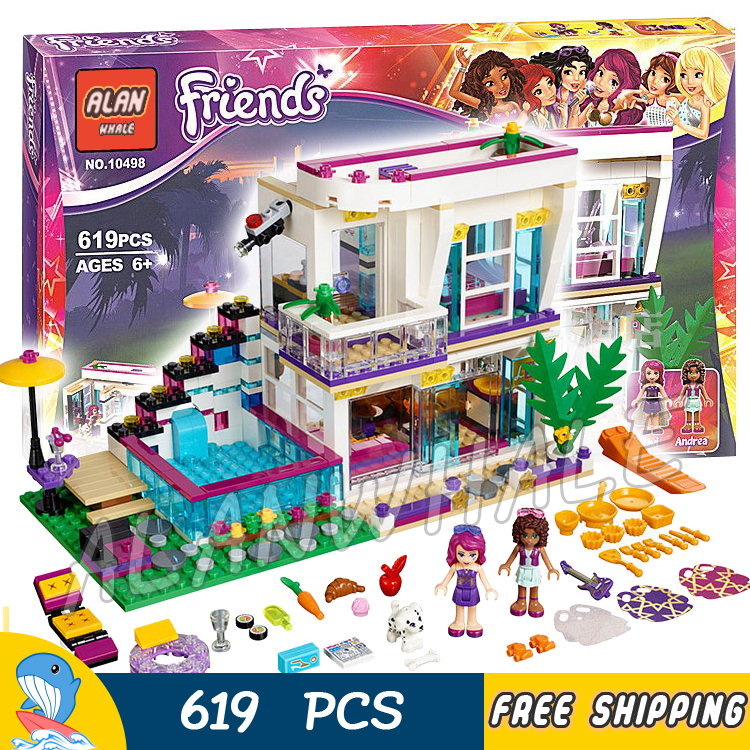 619pcs 10498 Friends Livi's Pop Star House Mixed Building Brick Blocks Children Toys Sets Kit Toys girls Compatible With lego lepin 02012 city deepwater exploration vessel 60095 building blocks policeman toys children compatible with lego gift kid sets