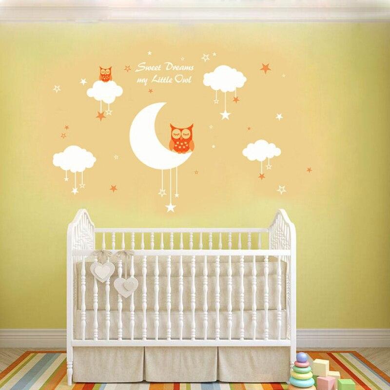 LL001 Owls for Sweet Dreams clouds stars vinyl Cartoon children art ...