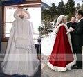 Capa de noiva Marfim Impressionante Do Casamento Casacos Com Capuz com Guarnição da Pele Do Falso calças de Comprimento No Tornozelo Vermelho Branco Perfeito Para O Inverno Longo Wraps