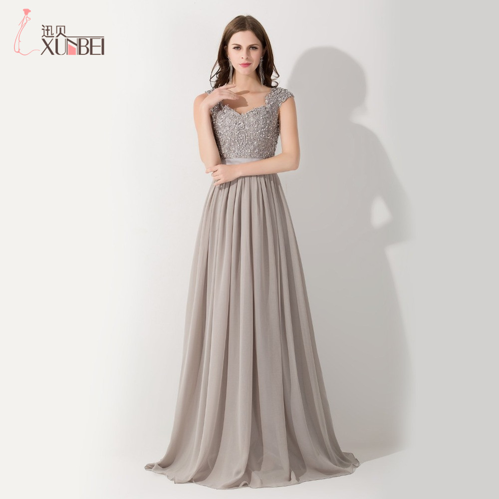 2017 New Arrival Formal Grey A Line Cap Sleeves Chiffon Long Evening Dresses To Party Beaded Lace Top Vestido De Festa