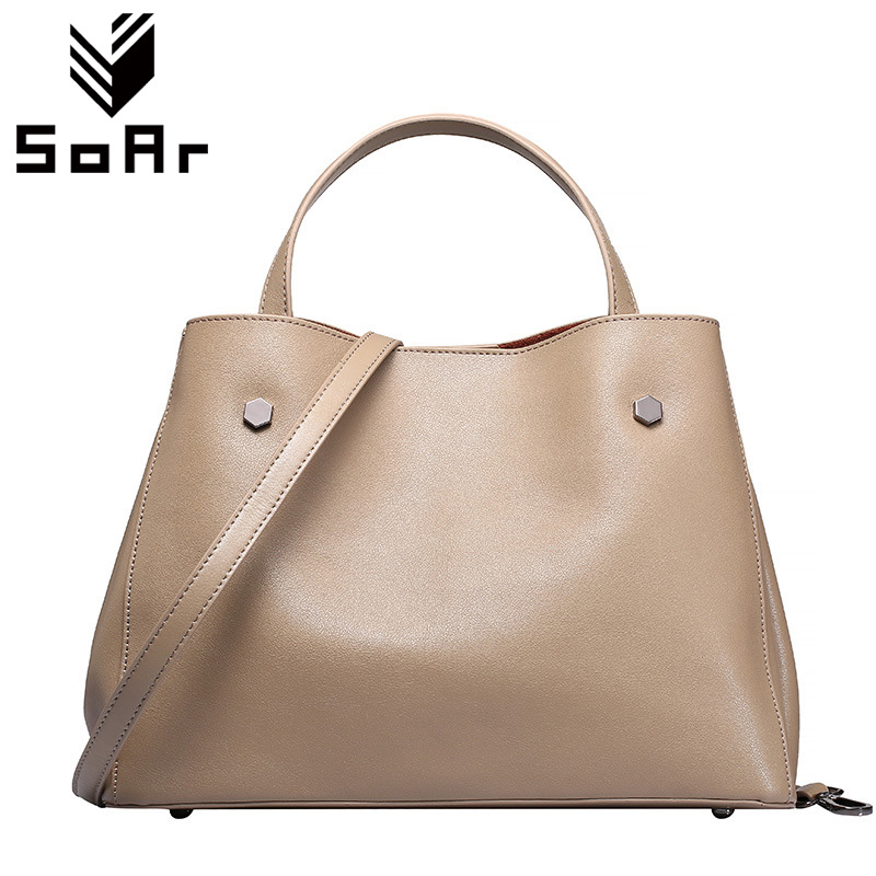 SoAr Cowhide Genuine Leather Bag Designer Handbags High Quality Women Shoulder Bags Famous Brands Big Size Tote Casual Luxury