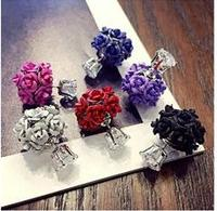 2016 New Arrival Multi Color Diverse Styles Flower Ball Decoration Long Pattern Ms Exclusive Stud Earrings