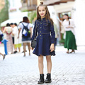New Arrival 2016 Autumn Girls Denim Dress with Pocket Fashion Kids Dark Blue Dress Children Jeans Dress Baby Dress, 5-15Y