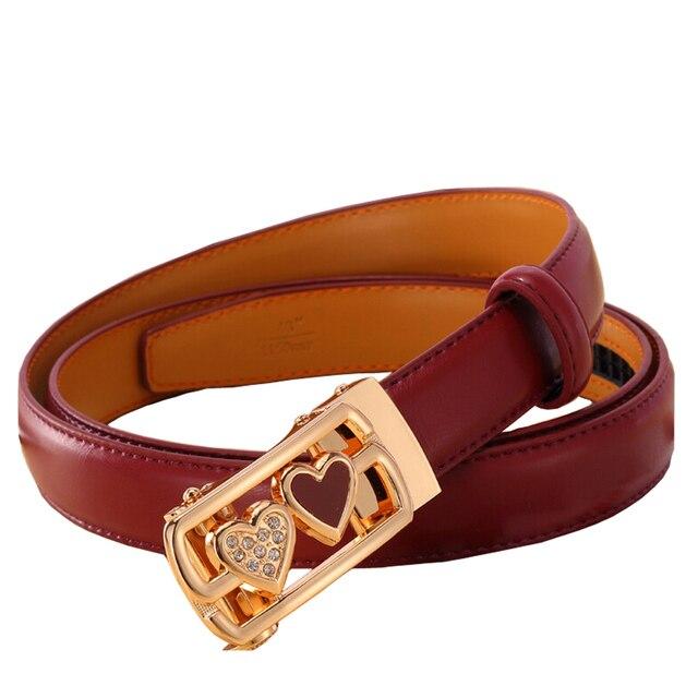 100% de Cuero de Vaca Genuino de Split Solid Cinturones de Cuero cinturones para las mujeres hebilla de metal correa de Cintura femenina corazón impreso ropa