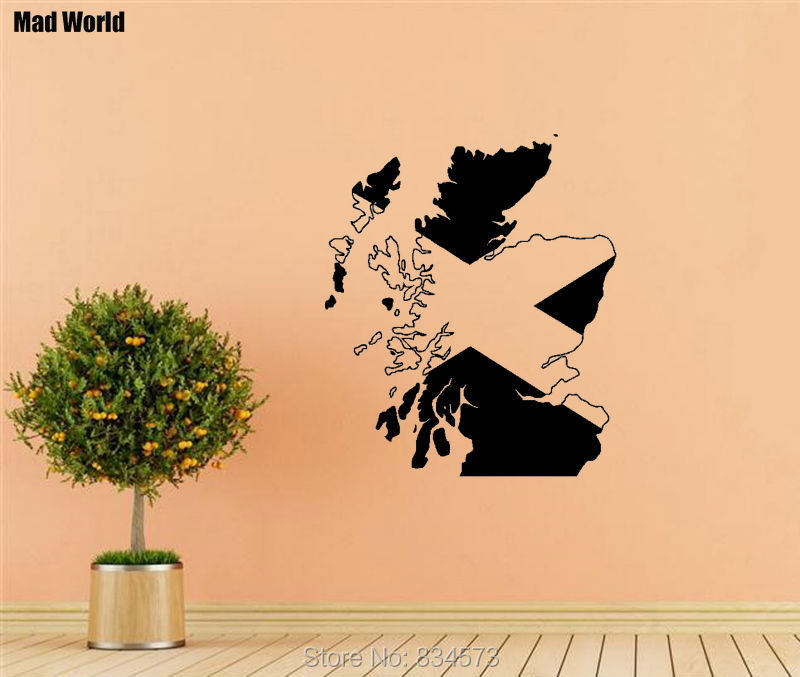 Mad World Map Flag Of Scotland Scottish Wall Art Stickers: Mad World Map At Infoasik.co