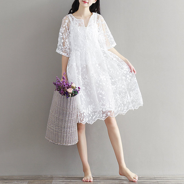 86665f0c34692 Mori Girl Chiffon Dress White Color High Waist Embroidery Lace Women Dress  Half Dress O Neck Two Pieces Plus Size XL-in Dresses from Women's Clothing  ...