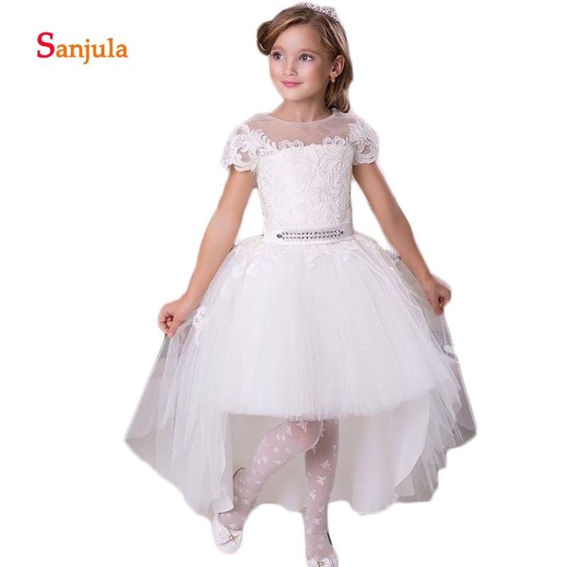 Short Lace Sleeve Knee Length   Flower     Girls     Dresses   Illusion O-Neck   Girls   First Communion   Dresses   with Detachable Train SSD621