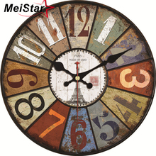 hot deal buy meistar vintage large abstract design clock silent cafe kitchen wall clocks watches home decor art shabby chic wall clocks klok