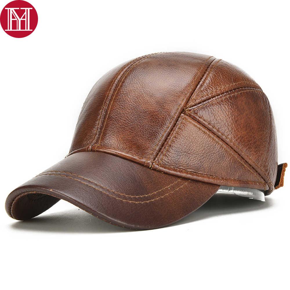 男性リアル耳たぶキャップ男性秋冬 100% 本物の牛革帽子新しいカジュアルリアル革屋外野球キャップ