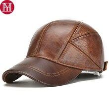Chapéu de couro bovino real, masculino, para outono inverno 100%, chapéus de couro bovino genuíno, novo, casual, couro real, beisebol ao ar livre tampa com gorro