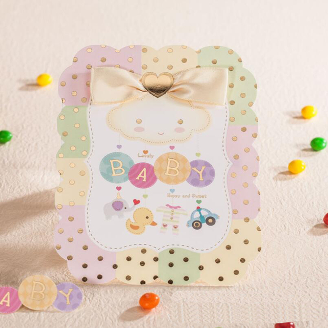 New 30pcs Pack Craft Personalized Baby Full Moon Invitations Birthday Invitation Card With Blank Inner