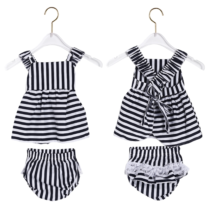 Hot Sale 1 Set Baby Dress Panties Girl Sexy Lovely Backless Fashion Stripe Style-m20