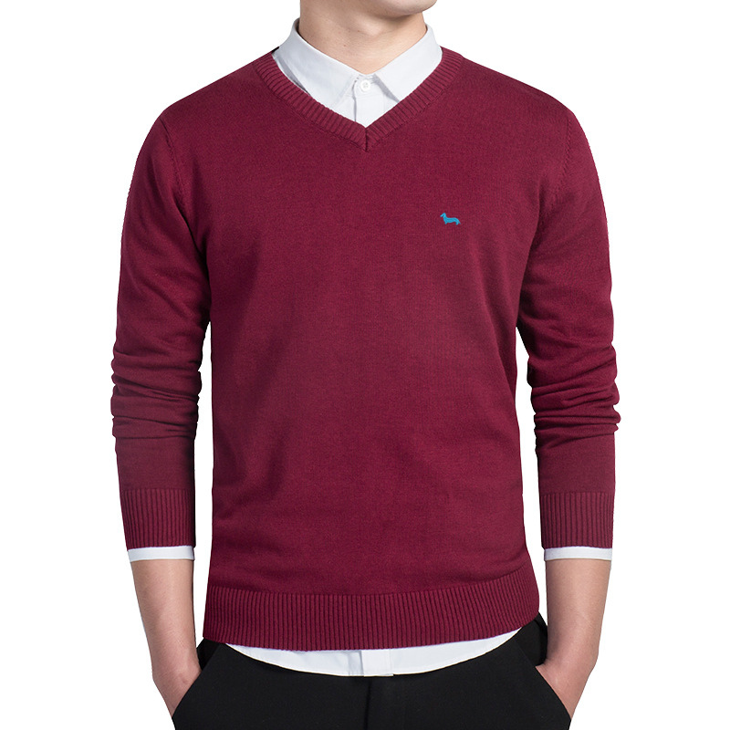 New Brand Men Pullover Clothing Spring Sweater V-neck Long Sleeve Men Harmont Solid Pull Homme Embroidery Pullover Men Sweaters