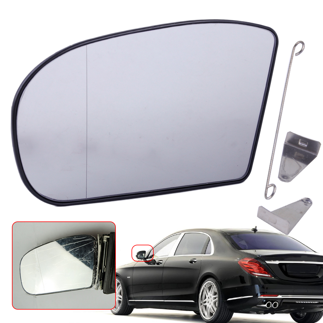 beler 2038100121 203 810 01 21 Left Heated Door Mirror Glass Aspherical Wide Angle Fit For Mercedes E class C Class W211 W203