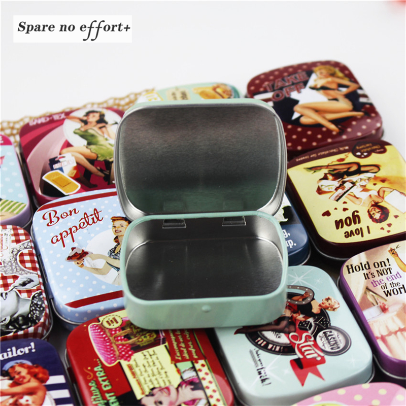 Tea-Box Storage-Case Candy Container Iron Gift Metal Cute Flower-Series Round Print Home