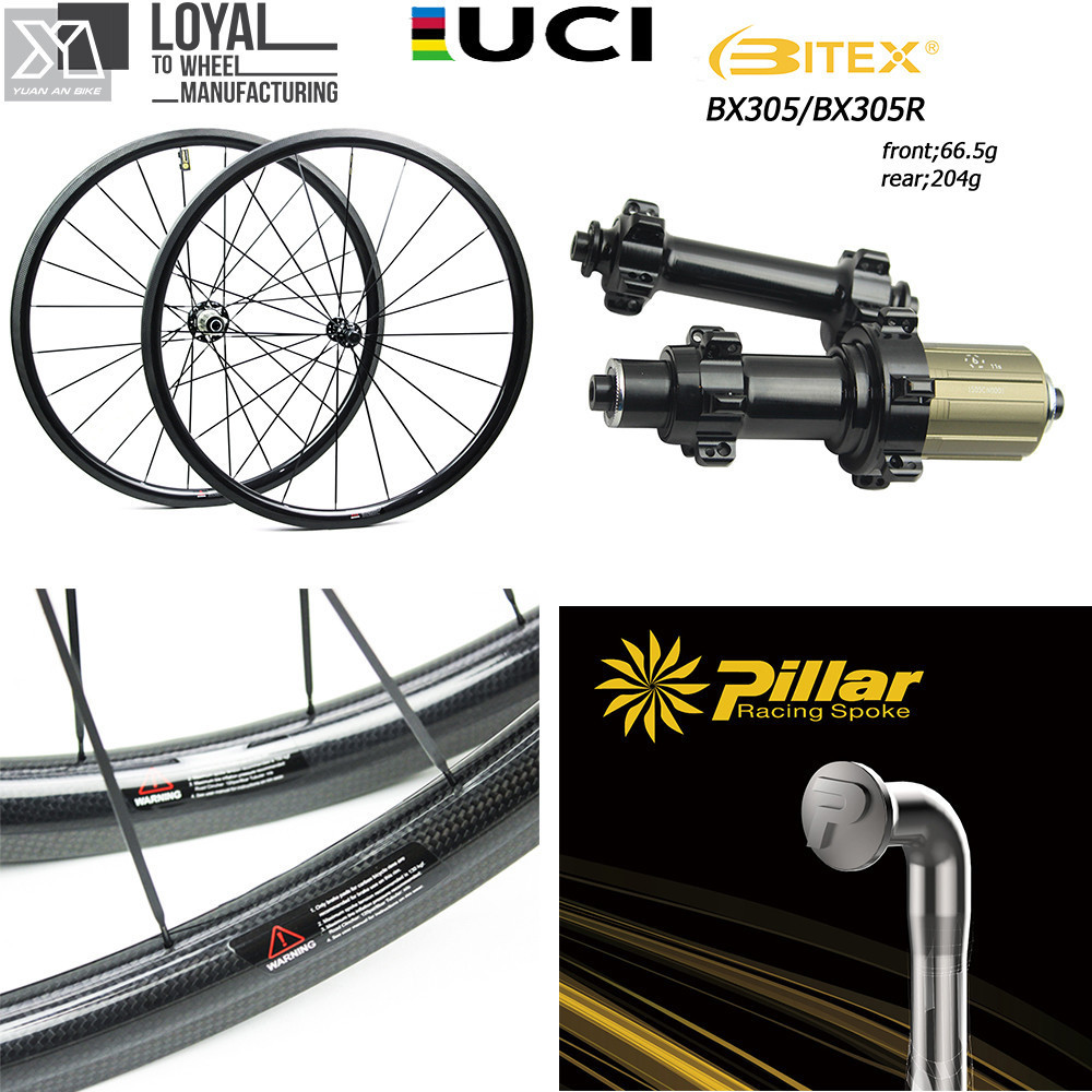 Carbon Fiber Wheelset 700C Road Bicycle Wheel 25mm Or 27mm Width Cycling Bike Wheel BITEX 305F 305R Hub and Pillar 1423 Spoke стоимость