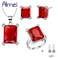 Almei Wedding Jewelry Set 925 Sterling Silver Earrings And Necklaces Gifts Red Fashion for Women Ornamentation Casamento T473