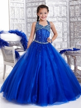 A-Line Flower Girl Dresses With Halter Neck Sequin Beaded Pageant  Floor-Length Zipper Up