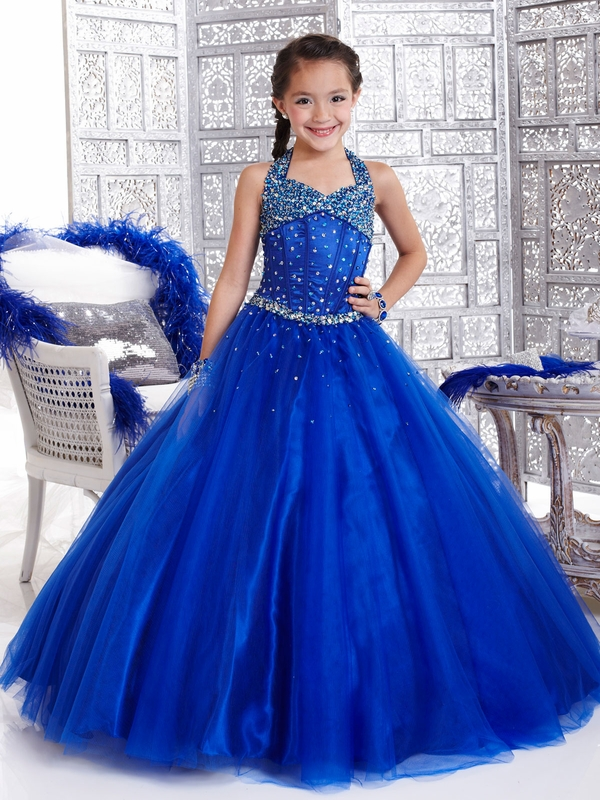 A-Line   Flower     Girl     Dresses   With Halter Neck Sequin Beaded Pageant   Dresses   Floor-Length Zipper Up
