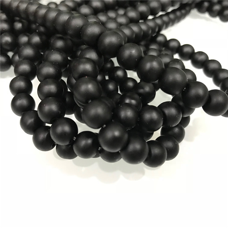 Natural Stone Beads AAA Quality Black Matte Agate Round Onyx  Beads 15