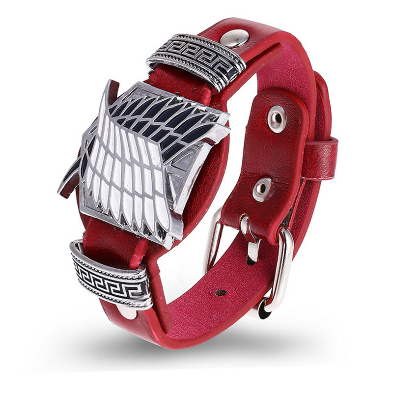 Hot Anime Attack on Titan Punk Bracelet Wristband Watch Styl