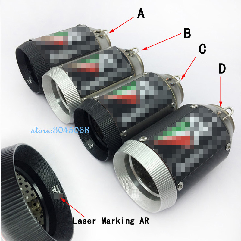 36-51mm Universal Motorcycle Exhaust Escape Pipe Modified Carbon Fiber Motorbike Laser Marking Muffler Pipe CNC For ZX-10R ZX-6R