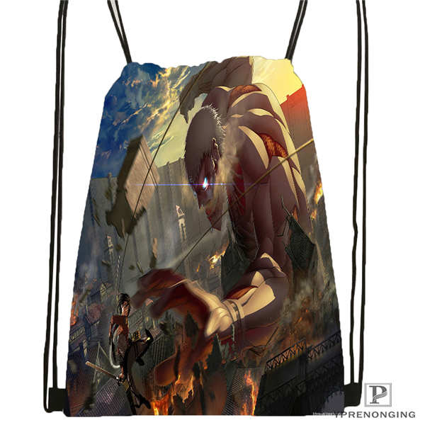 Custom Eren Jaeger Shingeki No Kyojin Anime Drawstring Backpack Bag Cute Daypack Kids Satchel (Black Back) 31x40cm#2018612-01-30